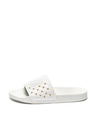 Papuci cu nituri si logo-papuci-Versace Jeans