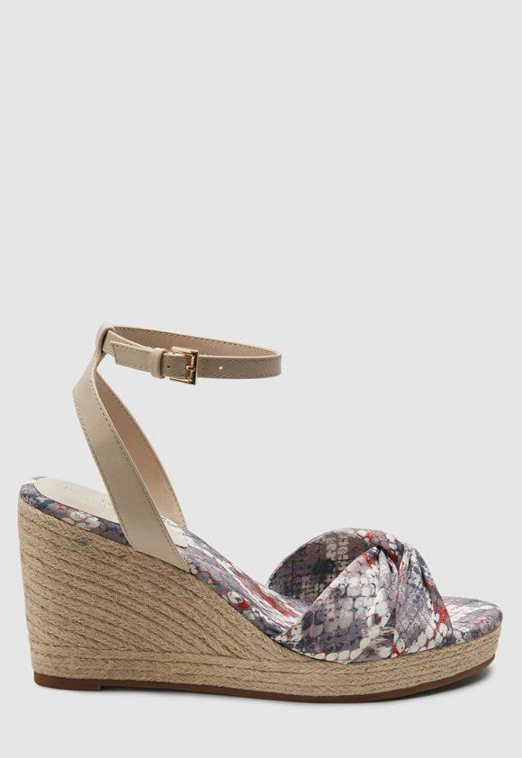 Sandale wedge cu garnituri de piele ecologica si model reptila-sandale-NEXT