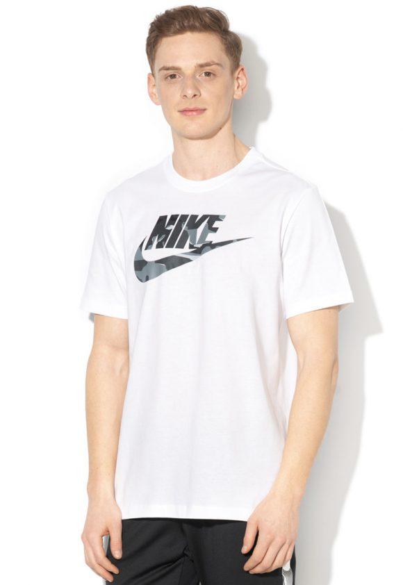 Tricou cu decolteu la baza gatului si imprimeu logo-tricouri-Nike