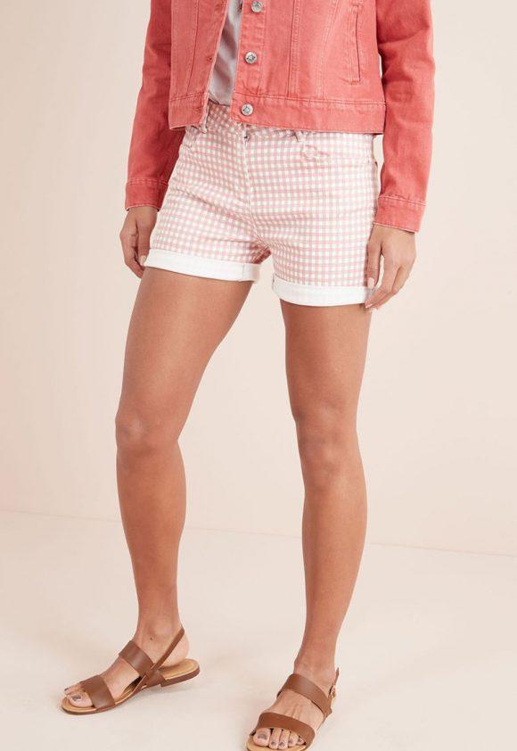 Pantaloni scurti din amestec de lyocell cu imprimeu geometric-pantaloni si colanti-NEXT