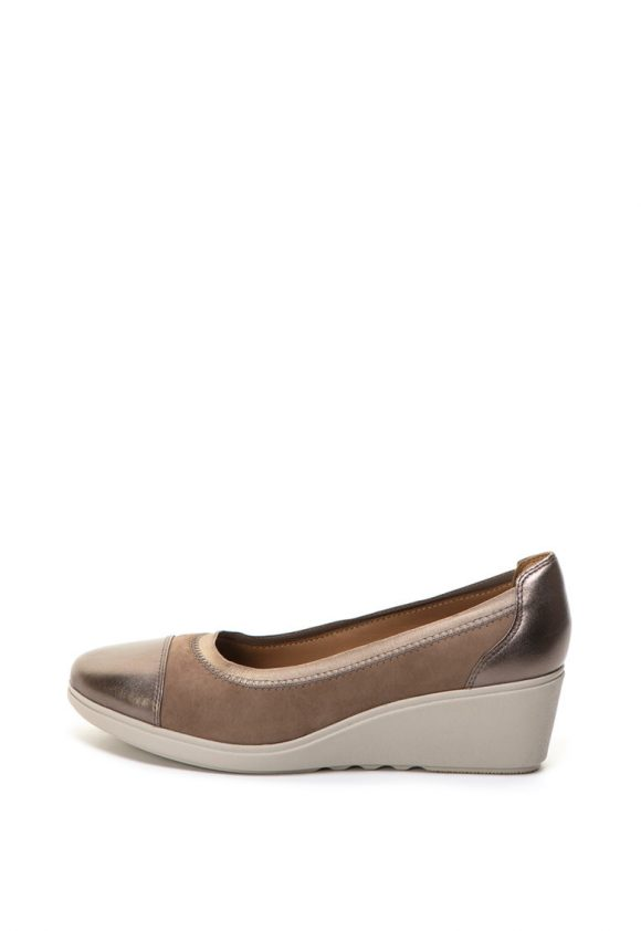 Pantofi wedge de piele si piele nabuc Un Tallara Liz-pantofi clasici-Clarks