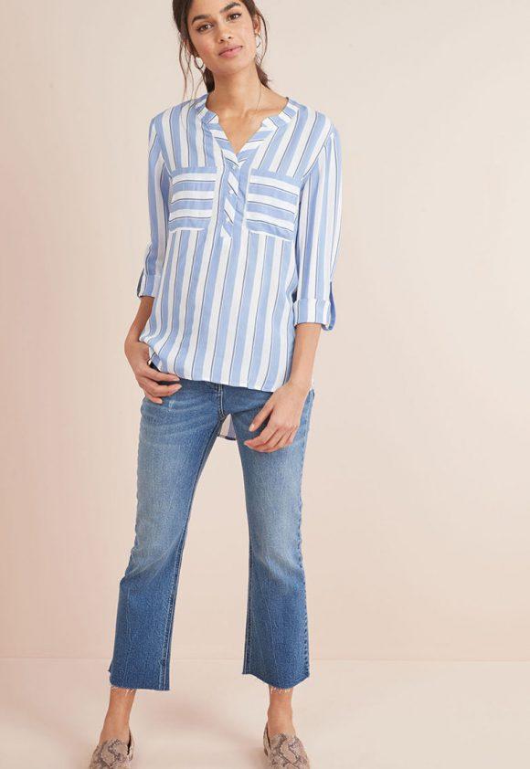 Bluza cu model in dungi si terminatie asimetrica-bluze-NEXT