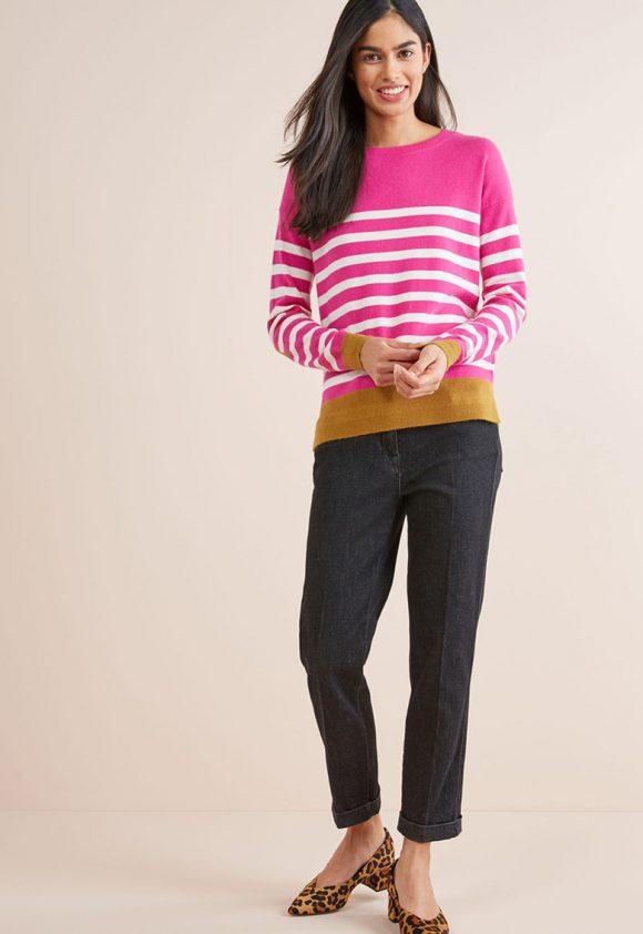 Pulover de casmir in dungi-tricotaje-NEXT