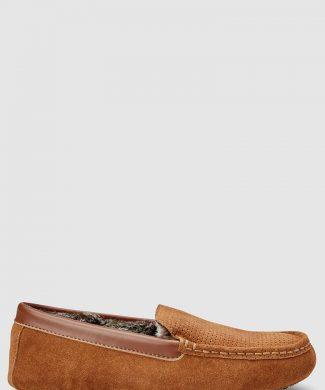 Pantofi loafer de piele intoarsa cu captuseala de blana sintetica-pantofi clasici-NEXT
