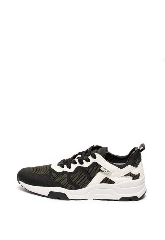 Pantofi sport de plasa cu garnituri de piele ecologica-tenisi-Guess