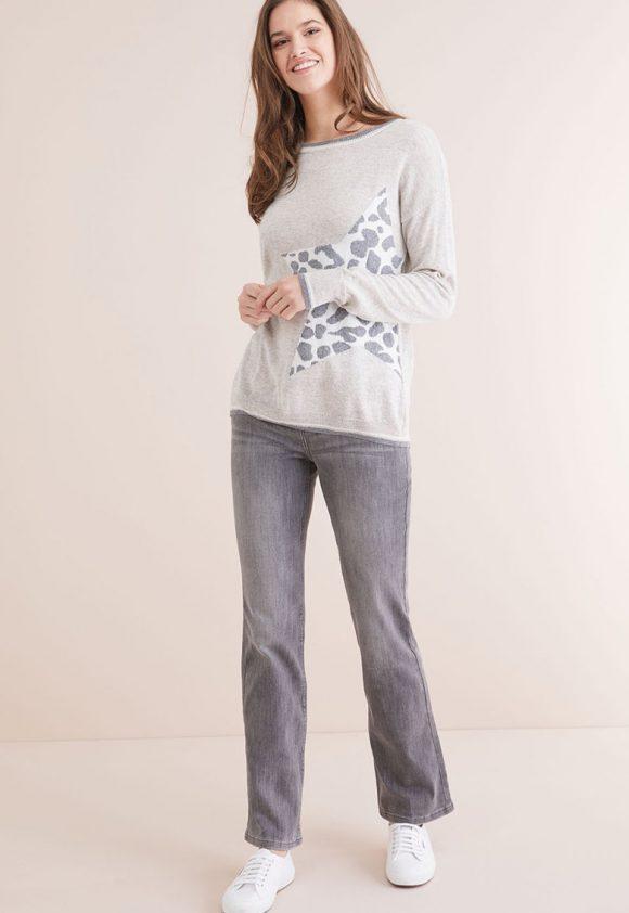 Pulover cu detaliu animal print-tricotaje-NEXT