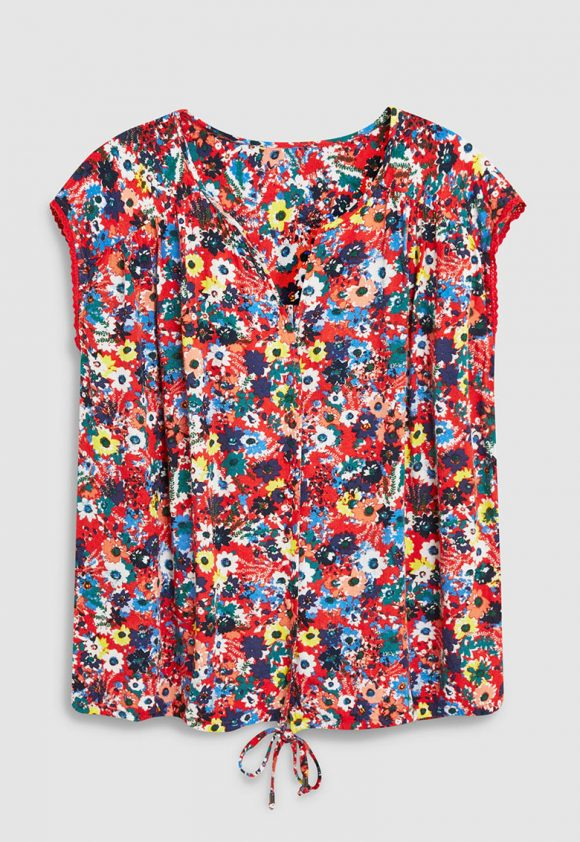 Bluza fara maneci cu imprimeu floral-bluze-NEXT
