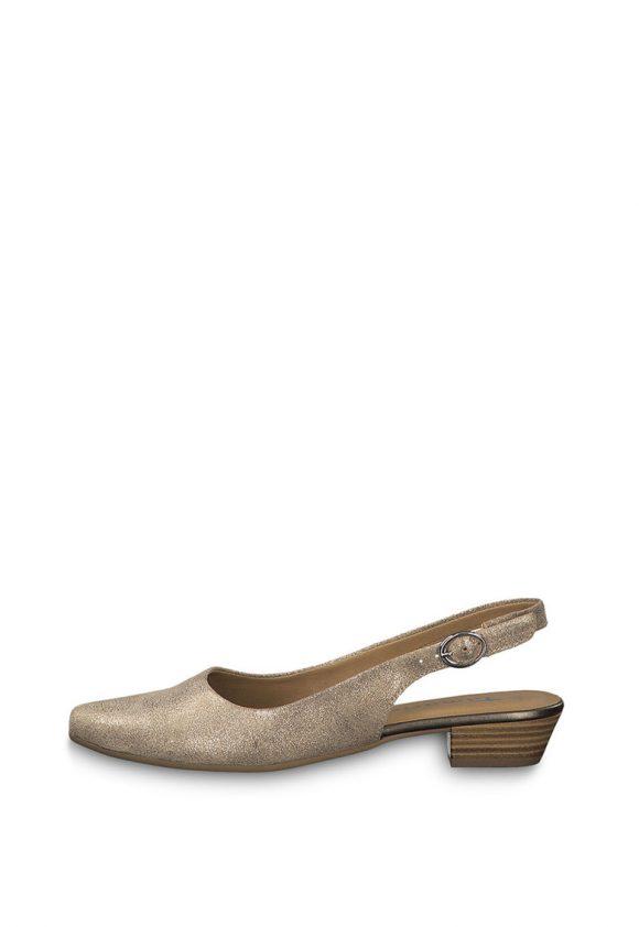 Sandale slingback de piele cu apect stralucitor-sandale-Tamaris