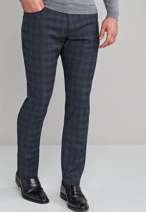 Pantaloni slim fit in carouri-pantaloni-NEXT