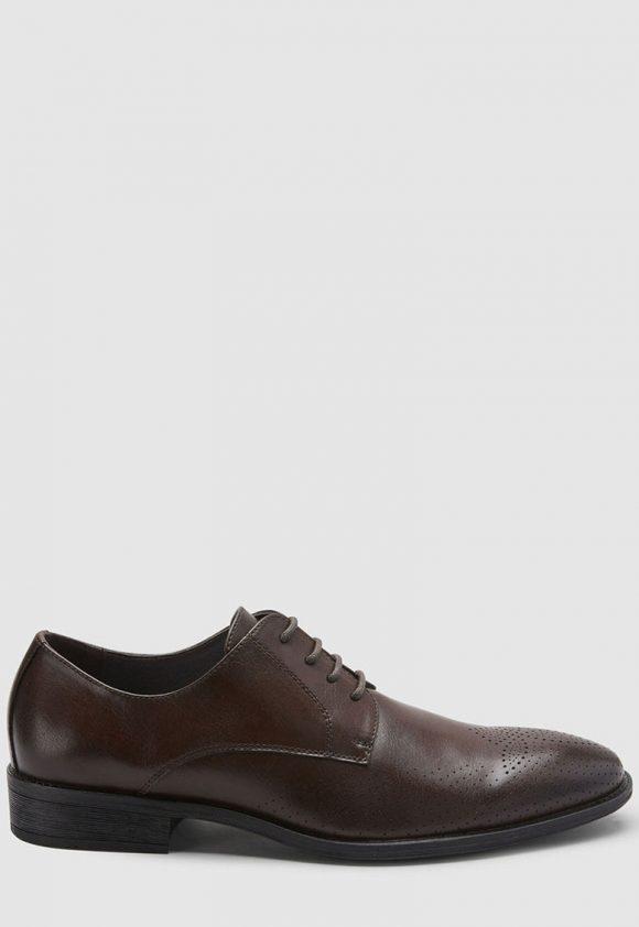 Pantofi derby de piele ecologica - cu perforatii-pantofi clasici-NEXT