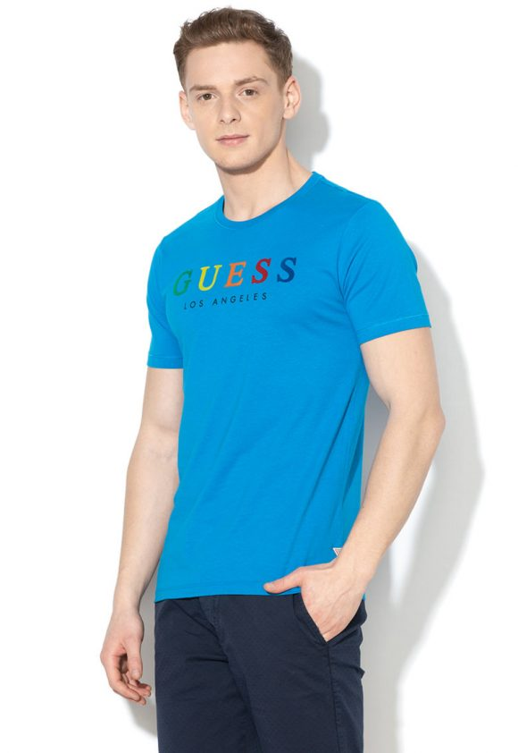 Tricou slim fit cu imprimeu logo-tricouri-GUESS JEANS