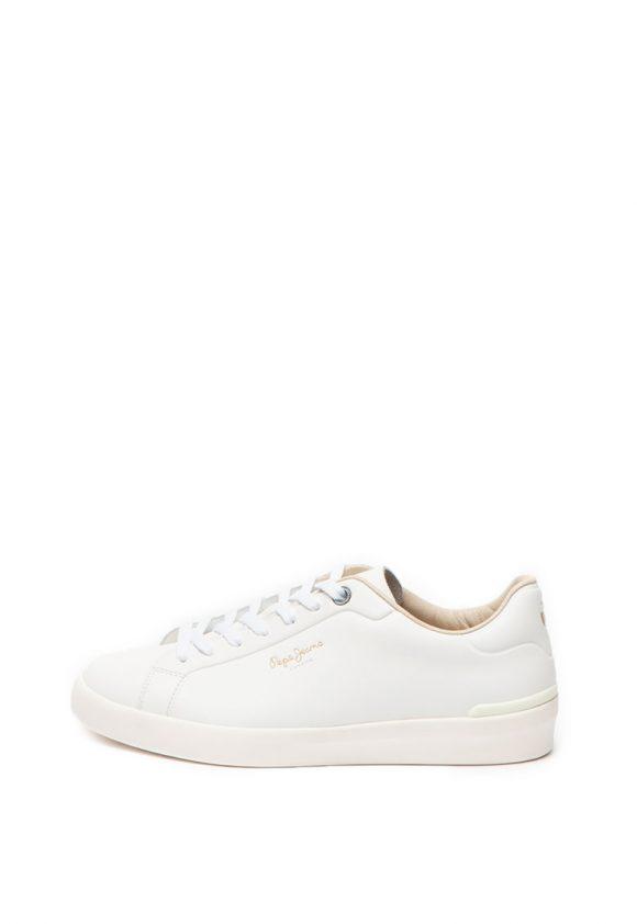 Pantofi sport de piele - cu imprimeu logo Roland-tenisi-Pepe Jeans London