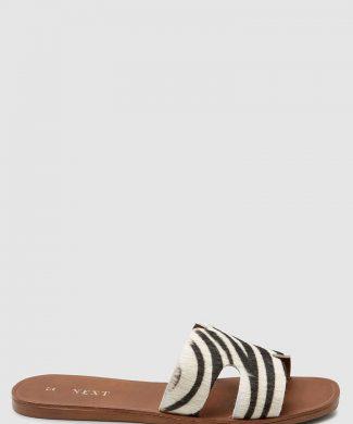 Papuci de piele cu par scurt-papuci-NEXT