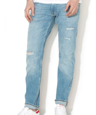 Blugi slim fit cu aspect decolorat si rupturi decorative-jeansi-EDC by Esprit