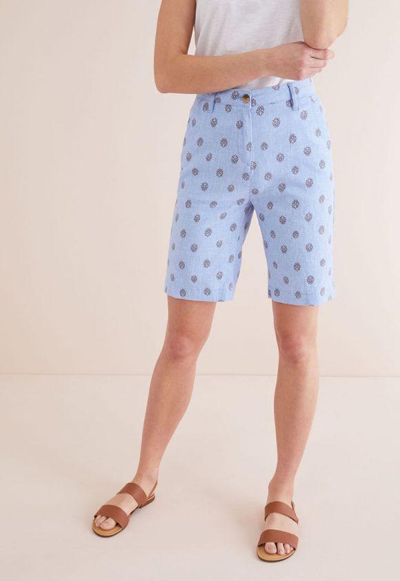 Bermude din amestec de in - cu model grafic-pantaloni si colanti-NEXT