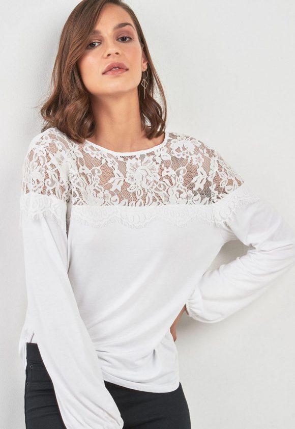 Bluza cu insertie de dantela-bluze-NEXT