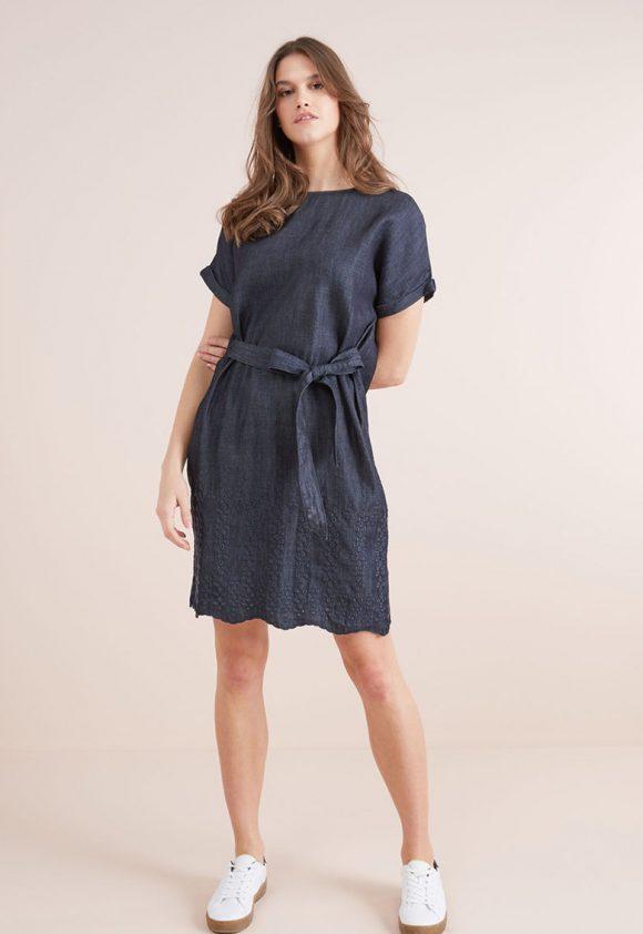 Rochie evazata din amestec de lyocell cu broderii-rochii-NEXT
