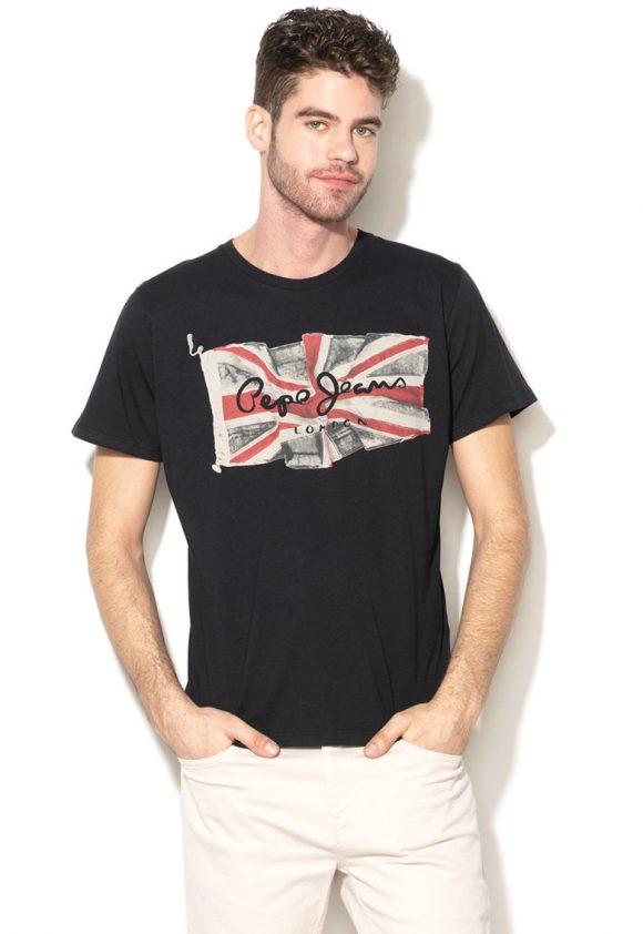 Tricou regular fit cu imprimeu logo Flag-tricouri-Pepe Jeans London