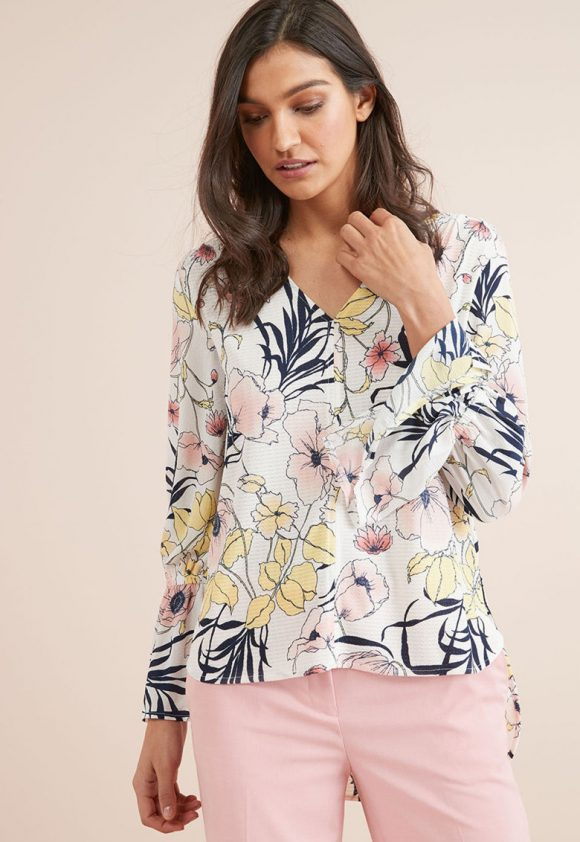 Bluza cu imprimeu floral si decolteu in V-bluze-NEXT