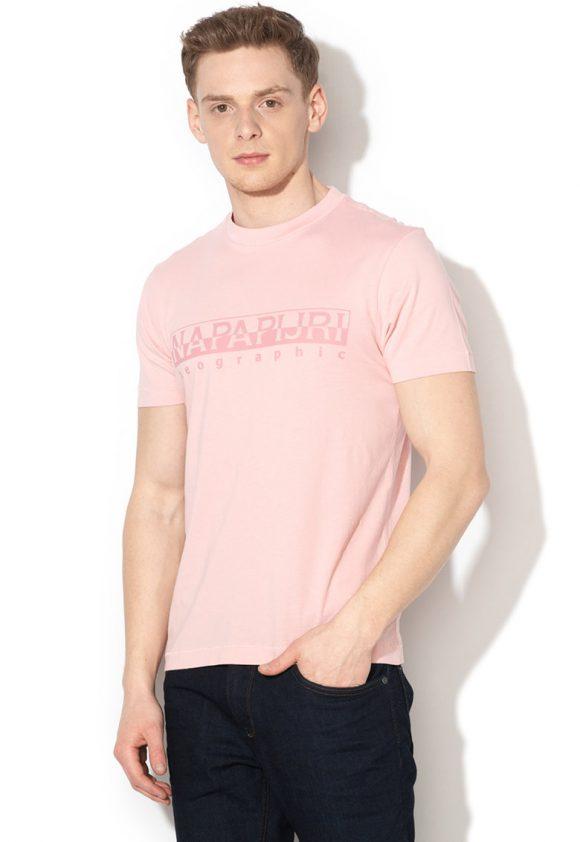 Tricou cu logo si decolteu la baza gatului Sevora-tricouri-Napapijri