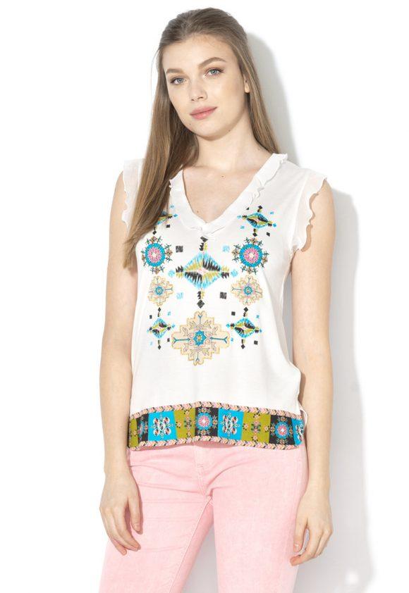 Top din jerseu cu motive etnice Martine-tricouri-DESIGUAL