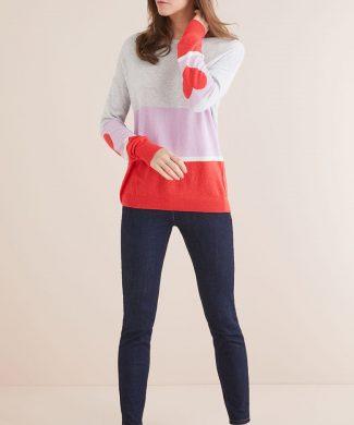 Pulover din amestec de lana Merinos cu model colorblock-tricotaje-NEXT