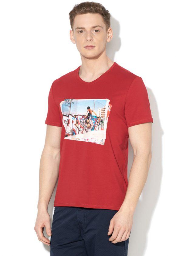 Tricou super slim fit cu imprimeu grafic-tricouri-GUESS JEANS