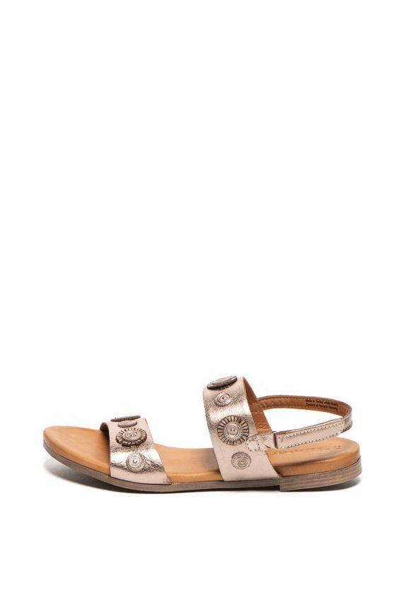 Sandale slingback de piele cu aspect metalizat-sandale-Tamaris