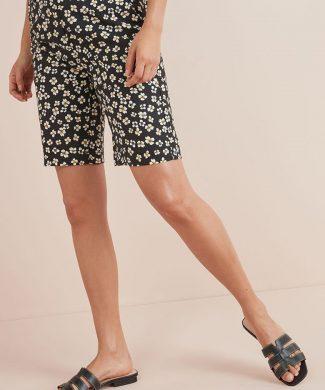 Bermude din amestec de in - cu model floral-pantaloni si colanti-NEXT
