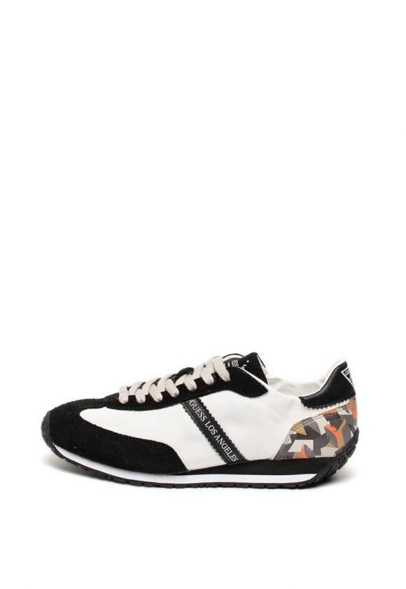 Pantofi sport usori cu garnituri de piele si piele intoarsa-tenisi-Guess