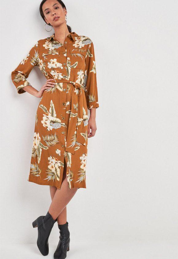 Rochie tip camasa cu model floral-rochii-NEXT