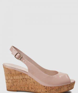 Sandale slingback cu talpa wedge si aspect lacuit-sandale-NEXT