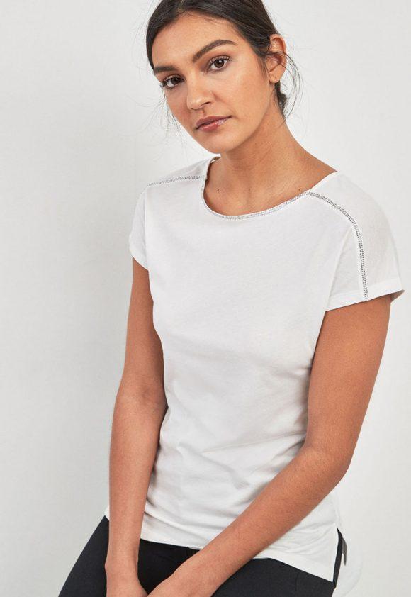 Tricou din amestec de modal - decorat cu strasuri-tricouri-NEXT