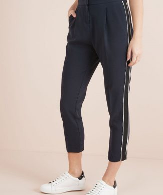 Pantaloni crop conici cu garnituri tubulare laterale-pantaloni si colanti-NEXT