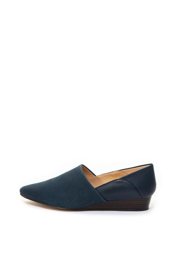 Pantofi wedge de piele si piele nabuc Sense May-pantofi clasici-Clarks