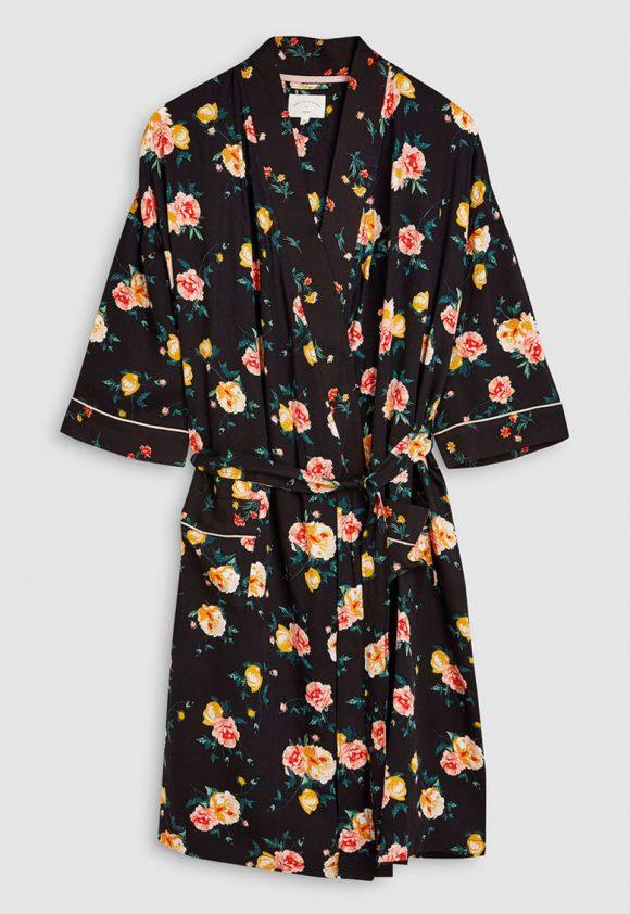 Halat cu imprimeu floral si cordon in talie-pijamale si halate de baie-NEXT