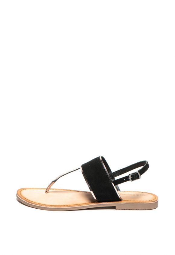 Sandale de piele si piele intoarsa - cu bareta separatoare si detalii metalizate Zitsa-sandale-Gioseppo