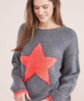 Pulover cu decolteu la baza gatului si model cu stele-tricotaje-NEXT