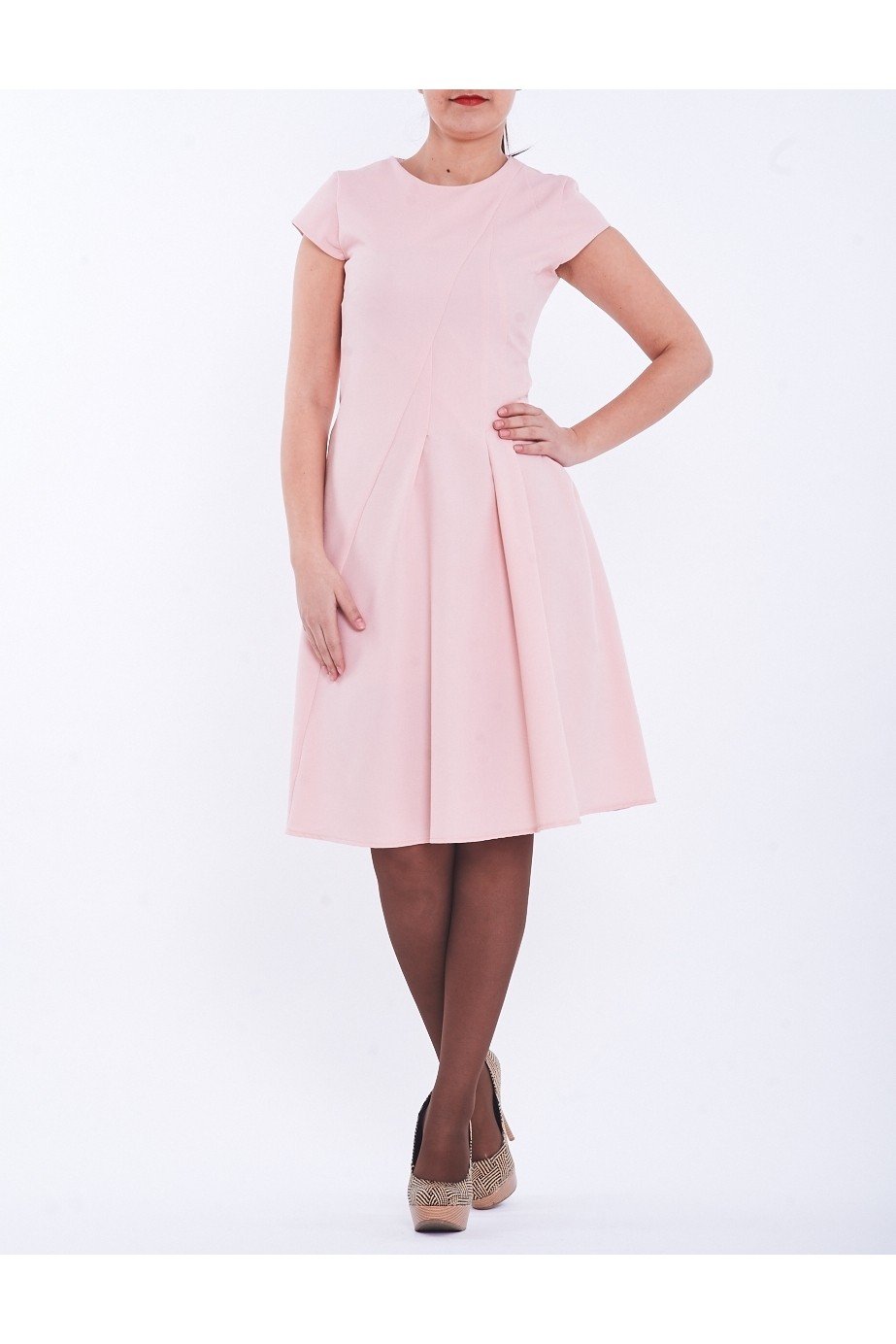 Rochie roz pal cu pliuri pe partea stanga TinaR 44