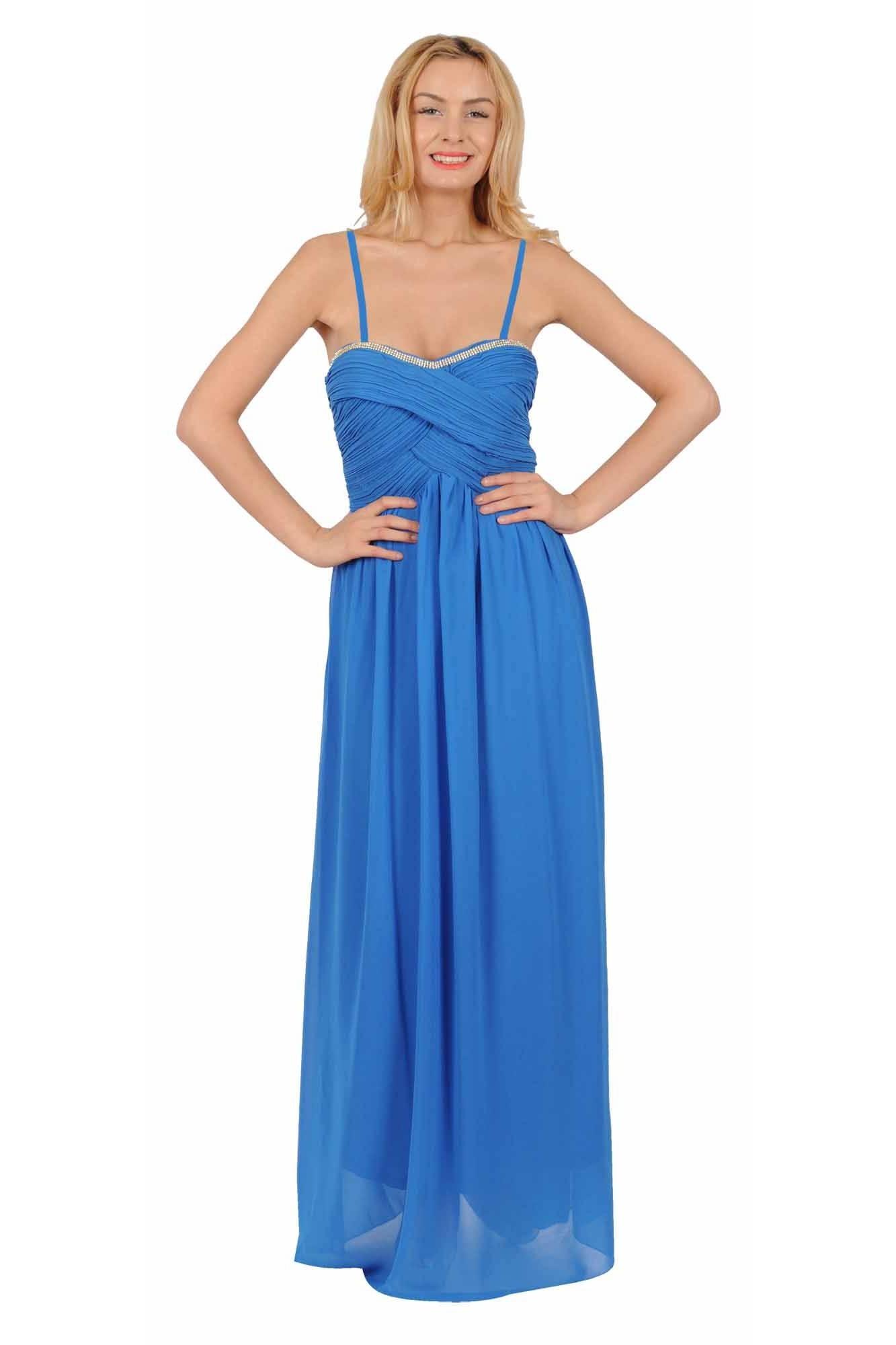 Rochie albastra de ocazie cu strasuri bust