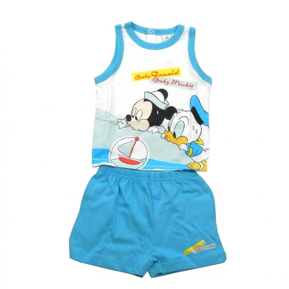 Set tricou fara maneci si pantaloni scurti Disney Disney Classics Bleu 18 luni