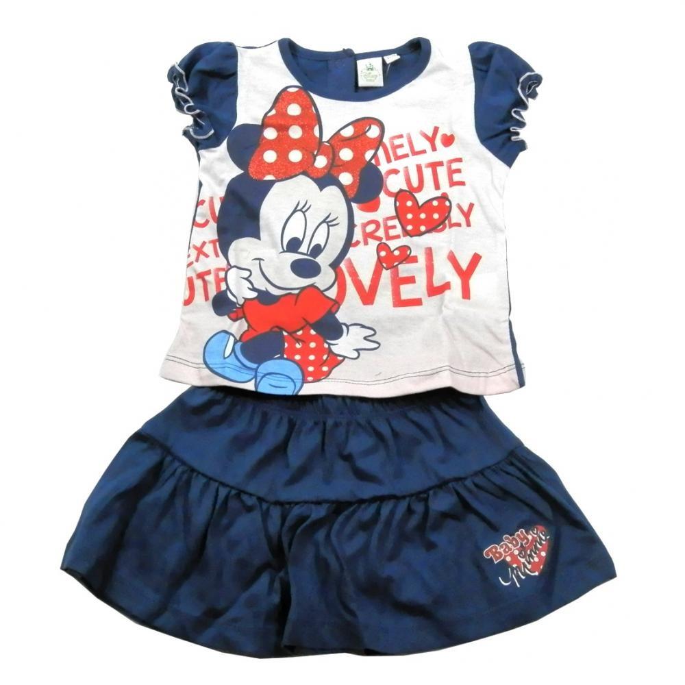 Set tricou cu maneci scurte si fusta Disney Minnie Mouse Bleumarin 12 luni