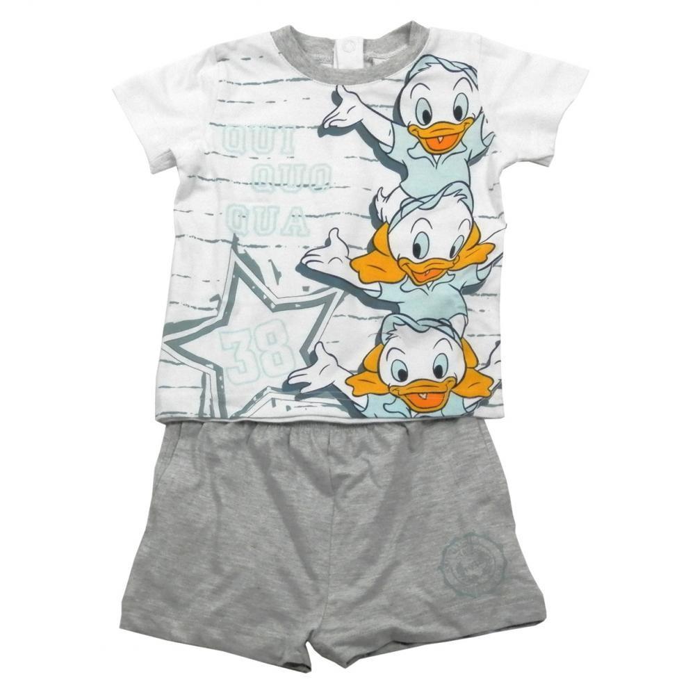 Set tricou cu maneci scurte si pantaloni scurti Disney Donald Gri 18 luni