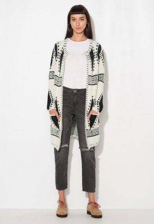 Cardigan negru cu alb model aztec Zee Lane Denim
