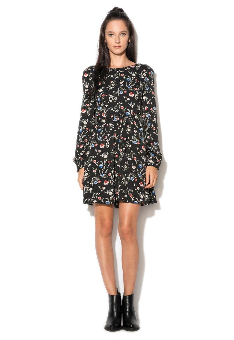 Rochie neagra cu imprimeu floral Mabe Pepe Jeans London