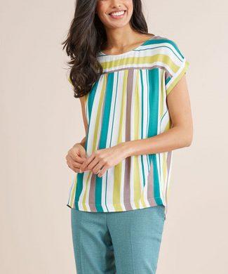 Bluza in dungi cu maneci scurte-bluze-NEXT