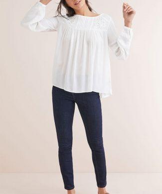 Bluza tip tunica din amestec de modal - decorata cu margele-bluze-NEXT