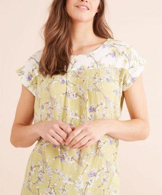 Bluza cu maneci scurte si imprimeu floral-bluze-NEXT