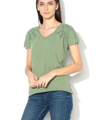 Tricou de bumbac cu aplicatii folorale Chinweike-tricouri-BIG STAR